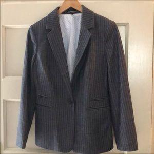 Express blazer, grey pinstripe w/polka dot lining